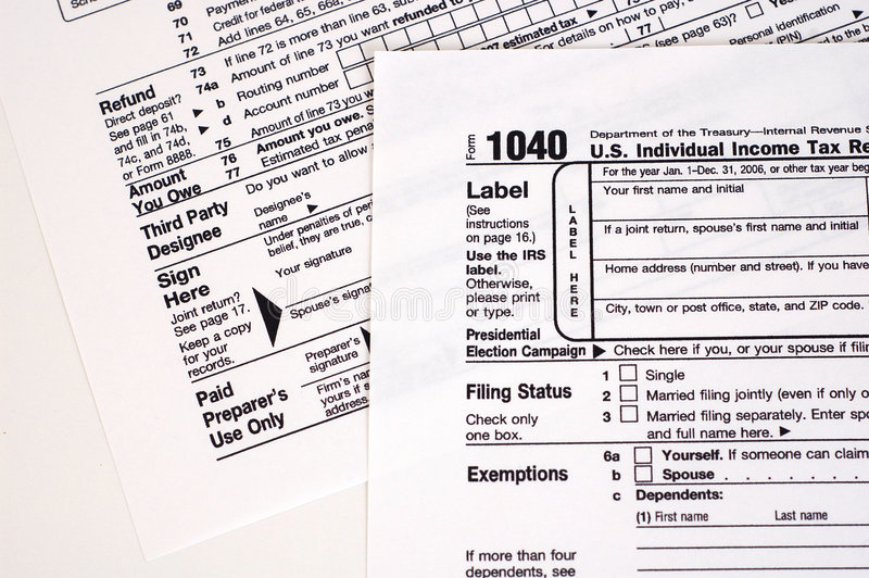 1040 Tax Form (USA). A United States income tax form, 1040 royalty free stock image