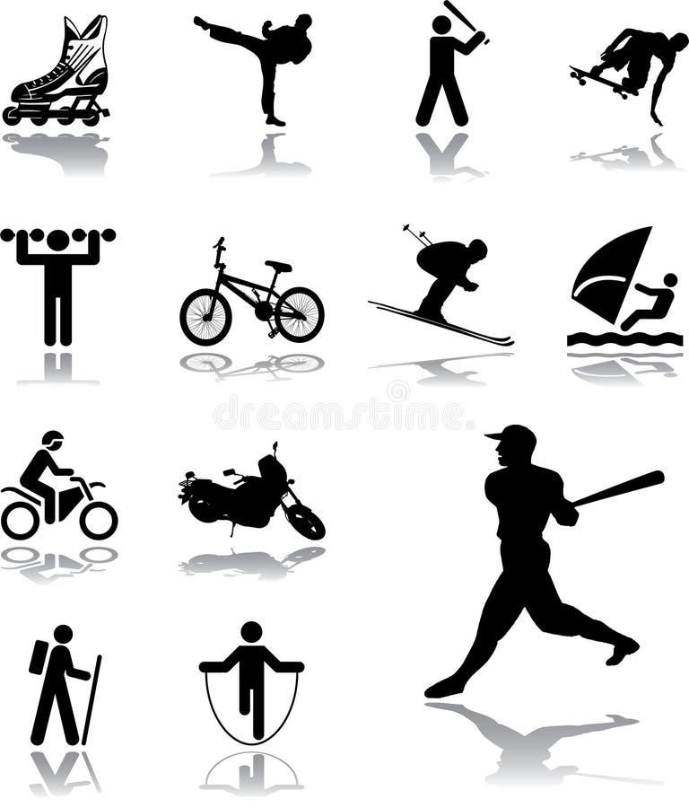 105 спорт установленный иконами иллюстрация вектора