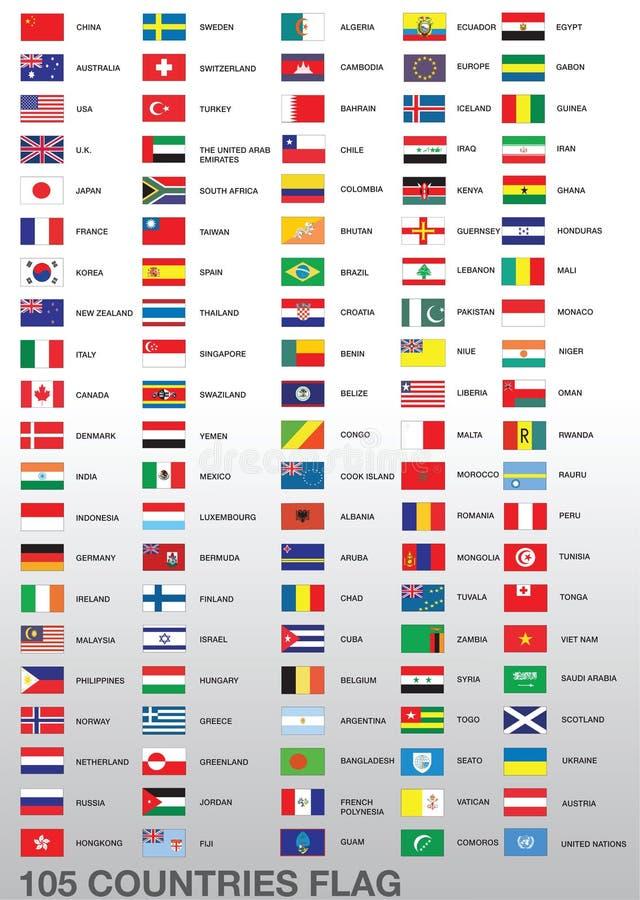 105 bandeiras de país ilustração stock