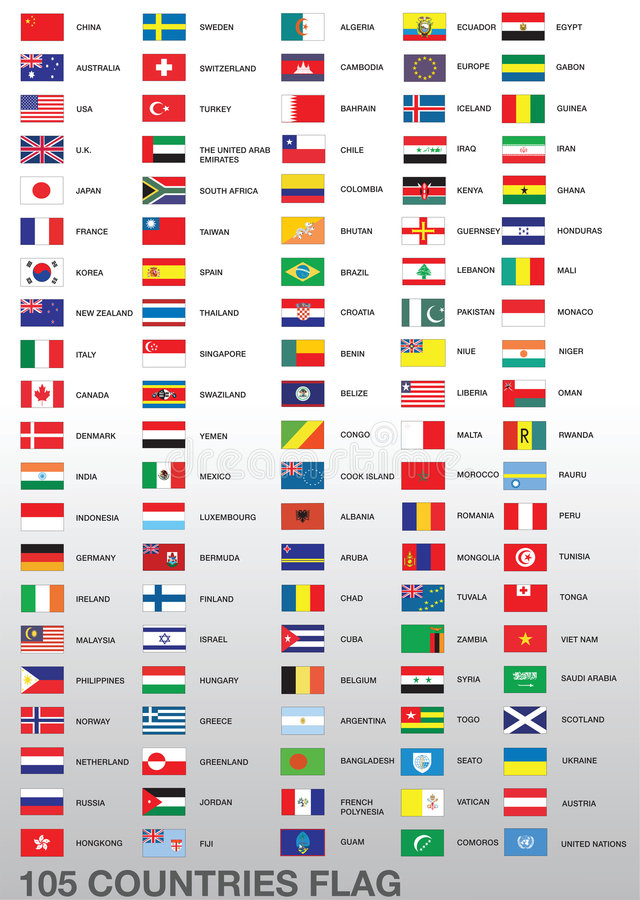 105 Country Flags. A set of flags of 105 different countries isolated on a background