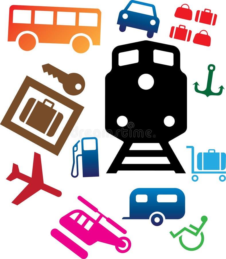 107c图标被设置的运输 向量例证