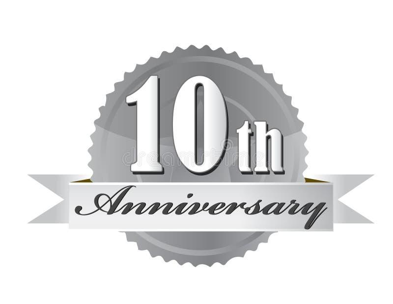 10mo diseño de la ilustración del sello del aniversario stock de ilustración