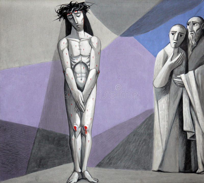 Free 10th Stations Of The Cross, Jesus Is Stripped Of His Garments Stock Images - 83890724