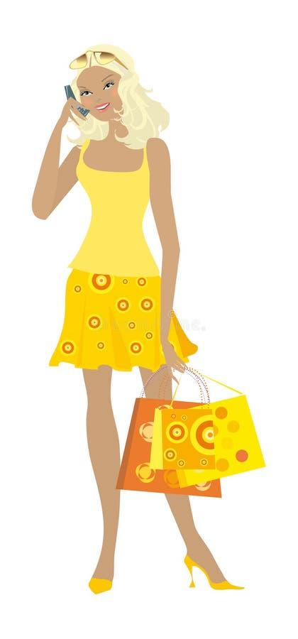 11个女孩购物 向量例证