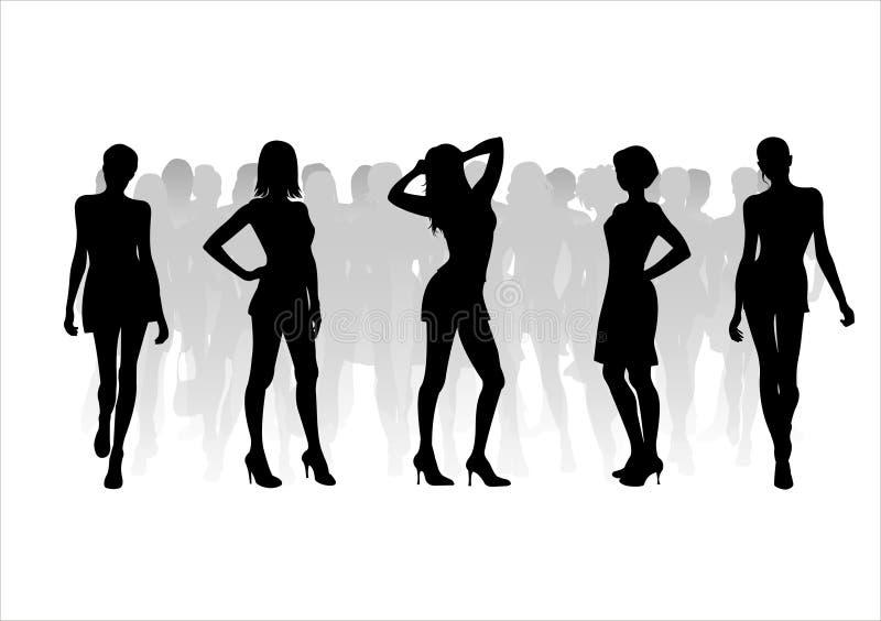 11个方式剪影妇女 库存例证