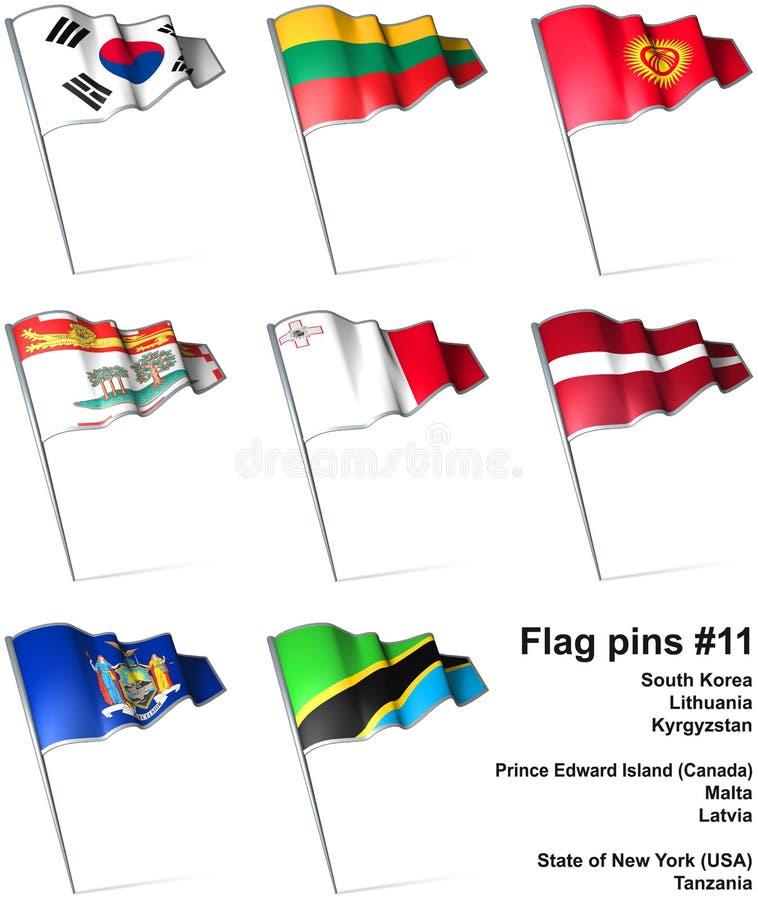 11 καρφίτσες σημαιών απεικόνιση αποθεμάτων