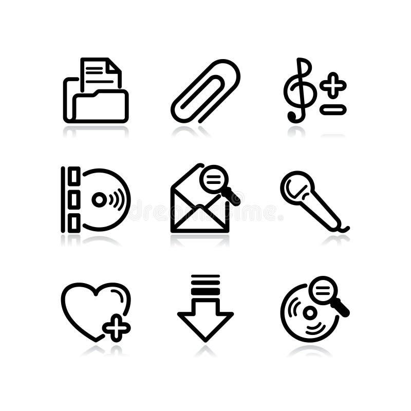 11 черная икона установили сеть бесплатная иллюстрация