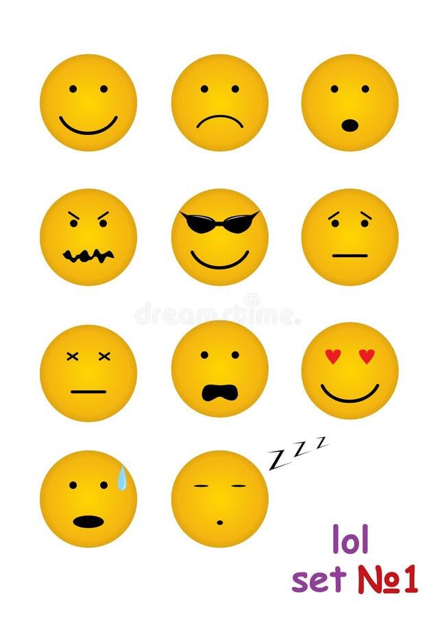 11 faces engraçadas para o bate-papo ilustração royalty free