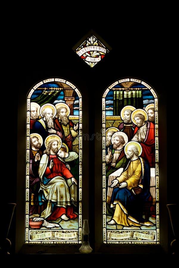 11 uczni szklany Jesus pobrudzony okno obraz stock