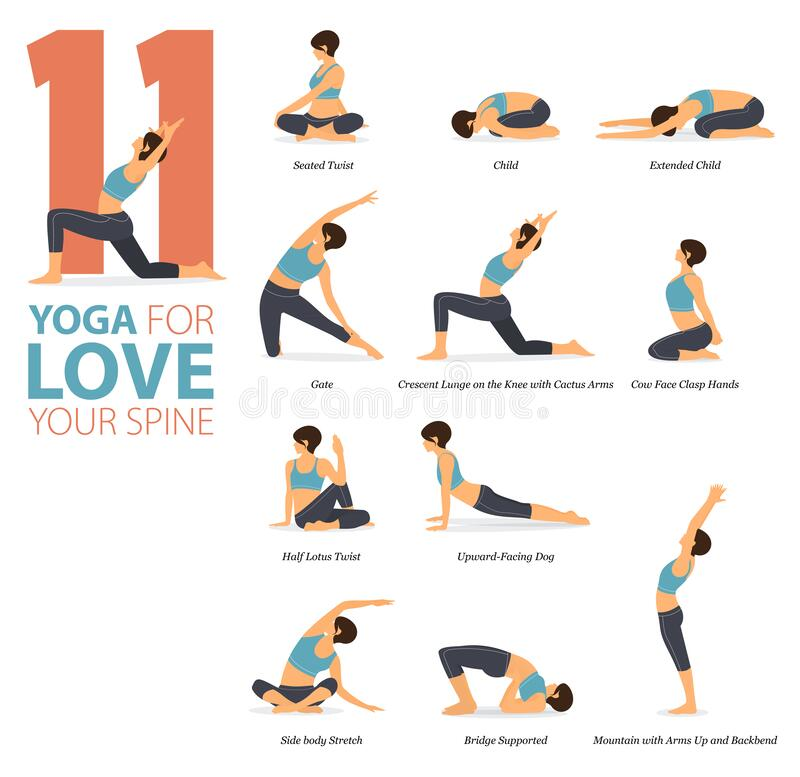 Free 11 Yoga Poses For Workout In Concept Of Love Your Spine In Flat Design. Women Exercising For Body Stretching. Vector. Royalty Free Stock Image - 212618936