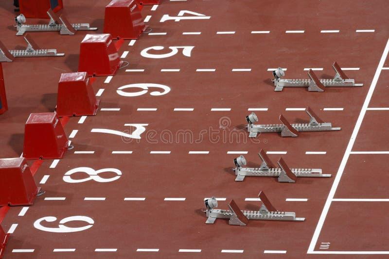 110-meter hurdles Blocks royalty free stock images