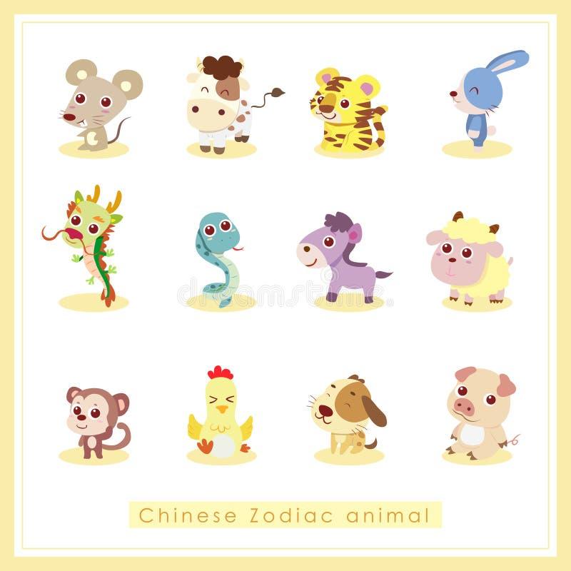 12个动画片中国黄道带动物贴纸 库存例证