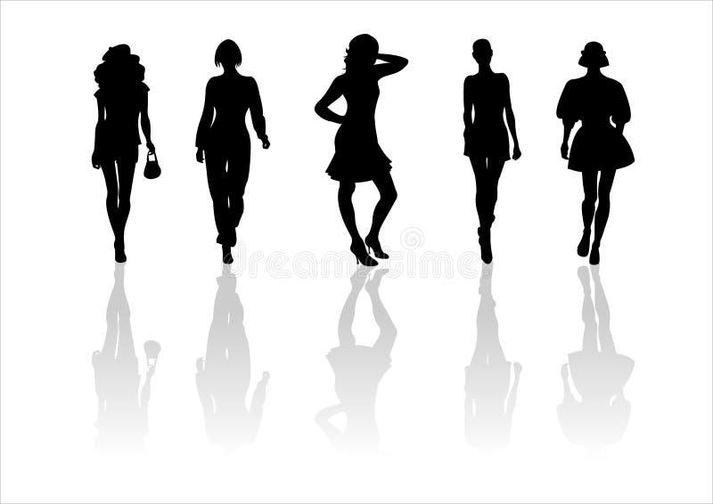 12个方式剪影妇女 向量例证