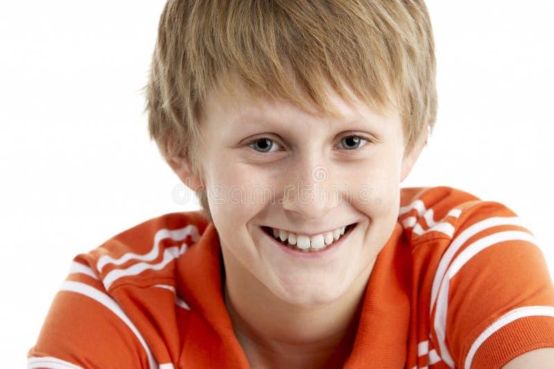 12个男孩老纵向微笑的年 库存图片
