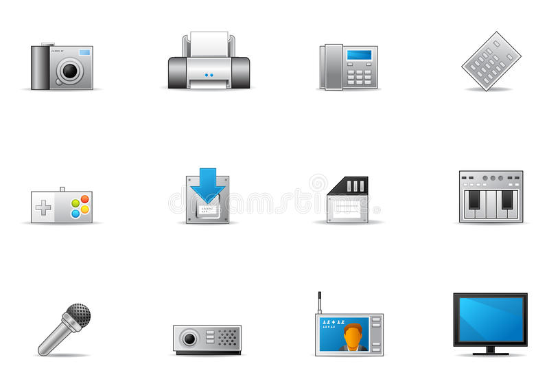 12个设备电子pixio集 皇族释放例证