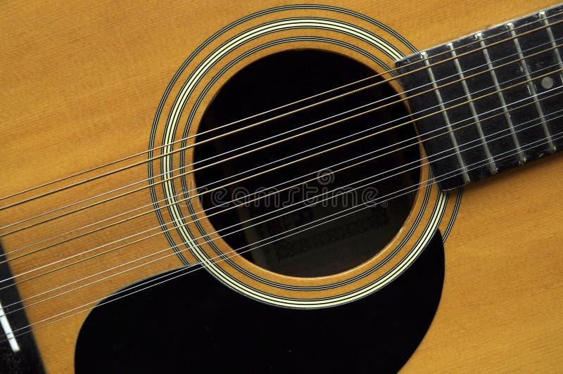 12把吉他字符串 免版税库存照片