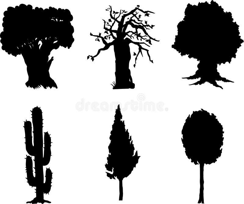 12 απομονωμένα καθορισμένα δέντρα στοκ φωτογραφία