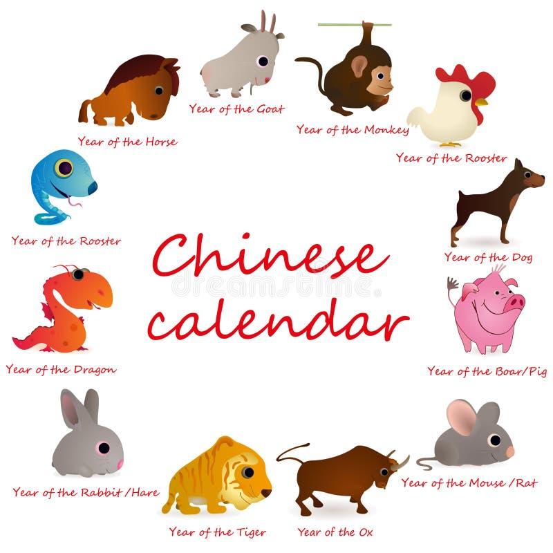 12 животного calendar киец бесплатная иллюстрация
