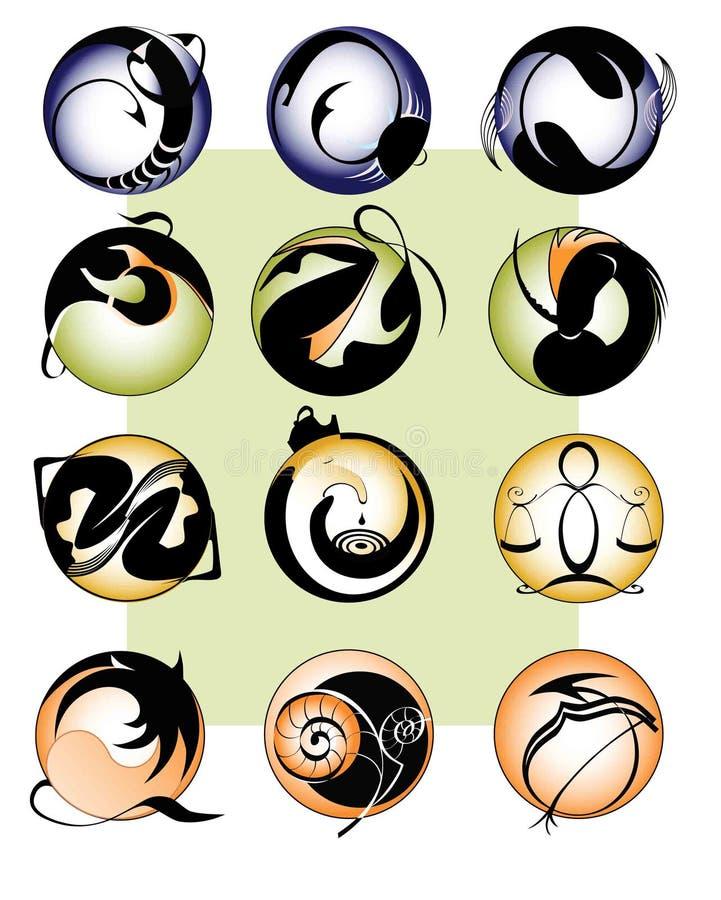 12 пеют зодиак иллюстрация вектора