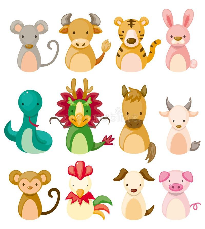 12 animal icon set,Chinese Zodiac animal stock illustration