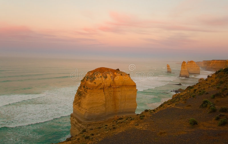 12 apostles at sunrise. Famous 12 apostles rock formation in Victoria, Australia at sunrise stock photography
