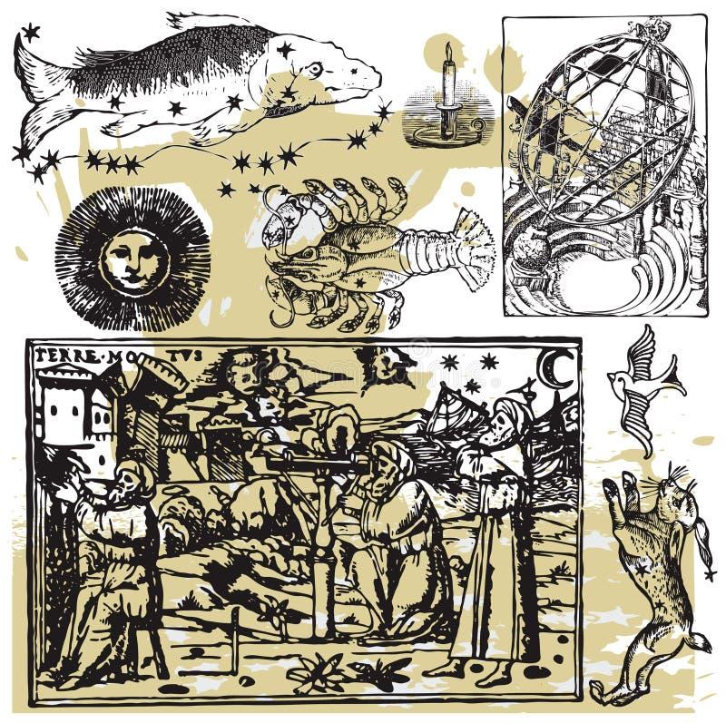 12 astrologii kolekcja royalty ilustracja
