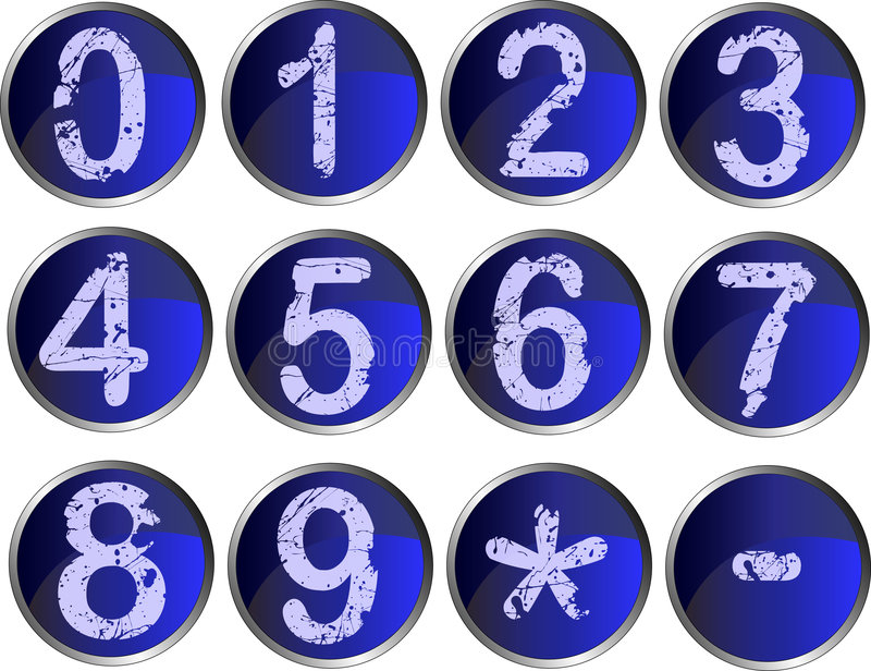 12 Blue Number Buttons royalty free illustration