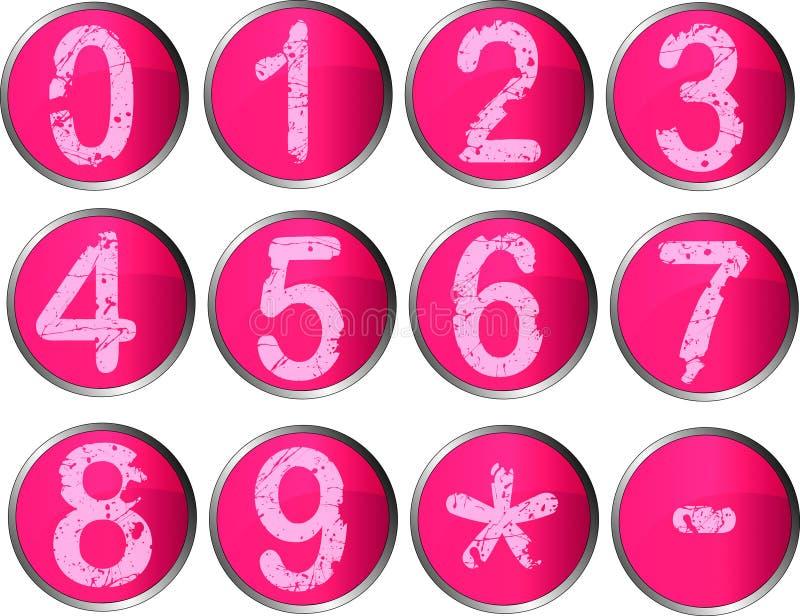 12 botones rosados del número stock de ilustración