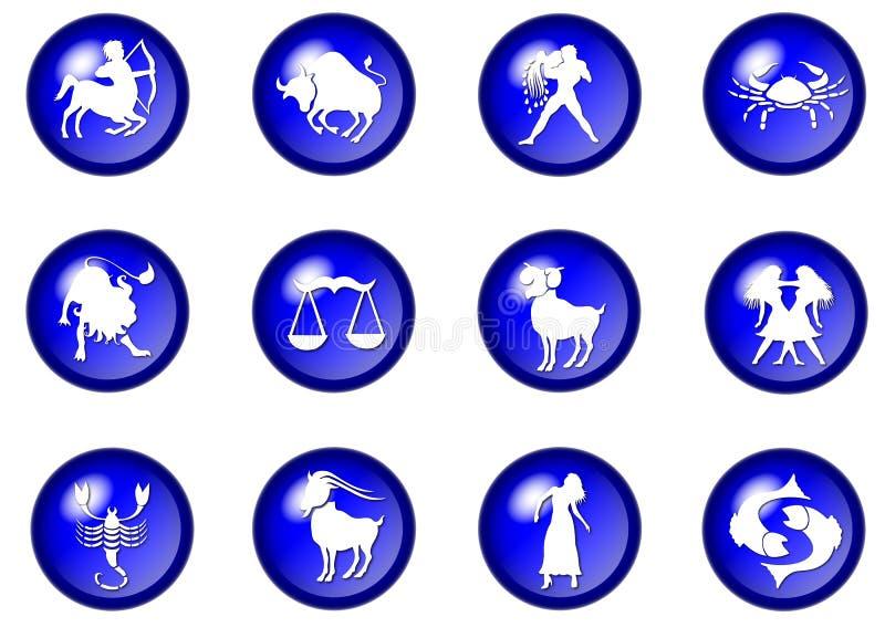 12 boutons bleus de vecteur de zodiaque illustration stock