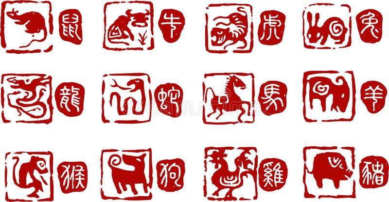 12 chińczyków lat zwierząt royalty ilustracja