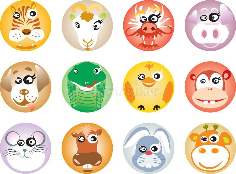 12 chinese Zodiac stock illustration