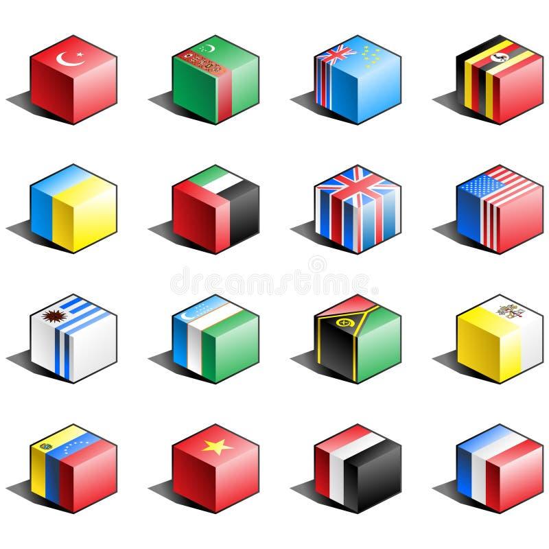 12 chorągwiany ikony część set ilustracja wektor