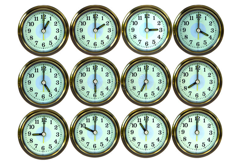 12 color gold time clocks , stock photos