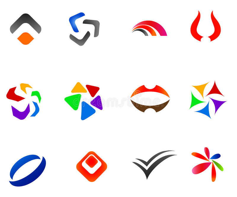 12 colorful vector symbols: (set 2) vector illustration