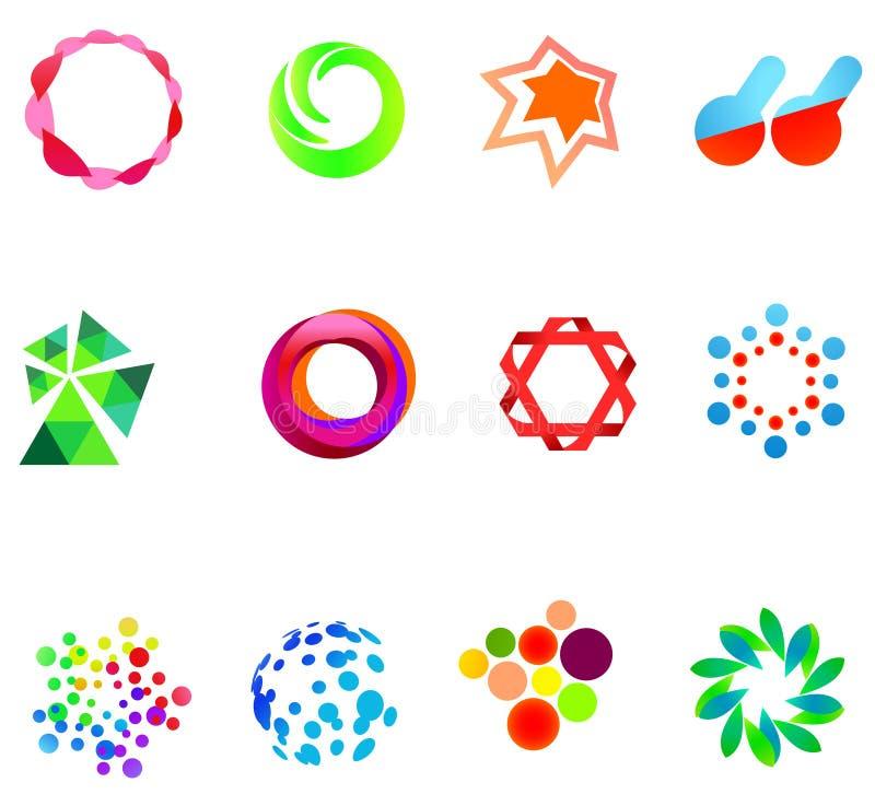 12 colorful vector symbols: (set 21) royalty free illustration