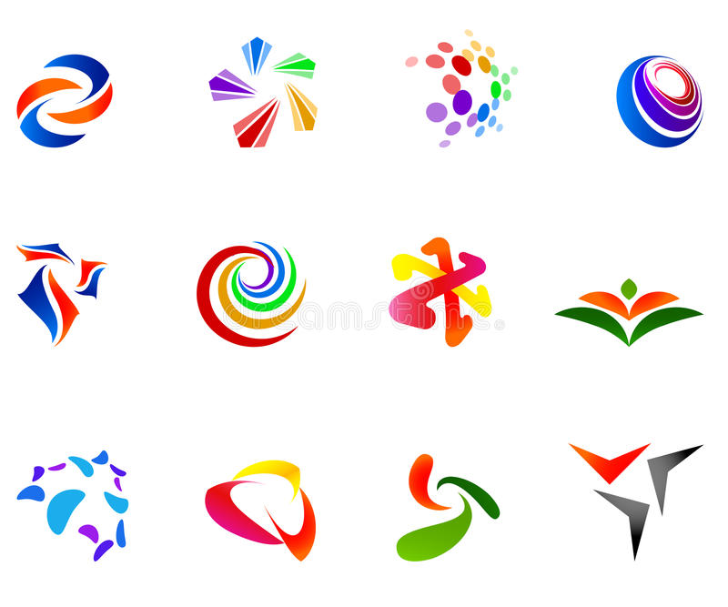 12 colorful vector symbols: (set 7) vector illustration