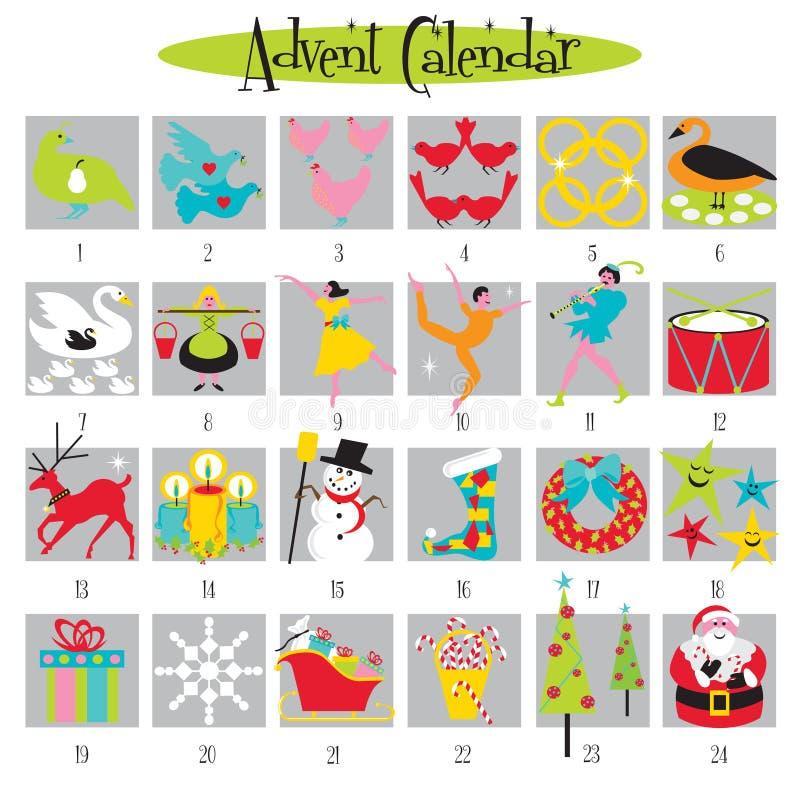 12 días de calendario de la Navidad y del advenimiento ilustración del vector