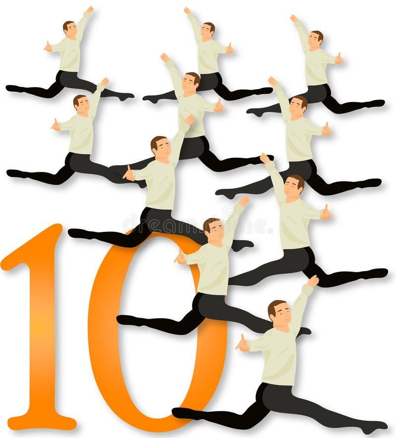 12 días de la Navidad: 10 señores A Leaping ilustración del vector