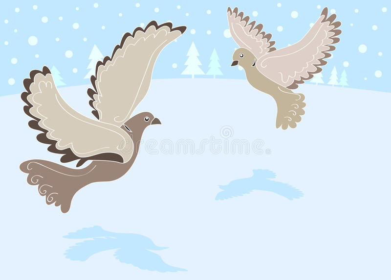 12 días de la Navidad: 2 palomas de la tortuga stock de ilustración