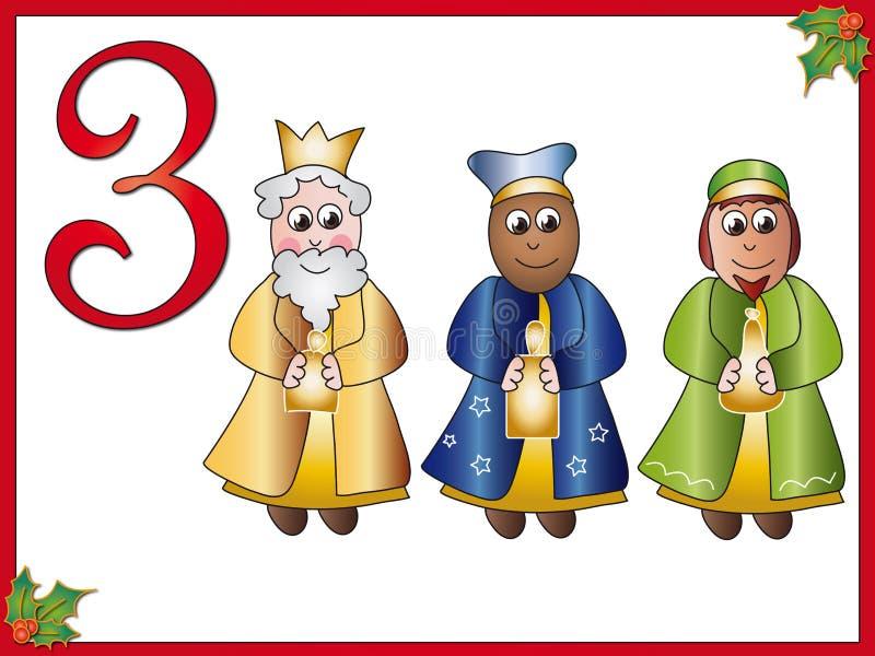12 días de la Navidad: 3 unos de los reyes magos stock de ilustración