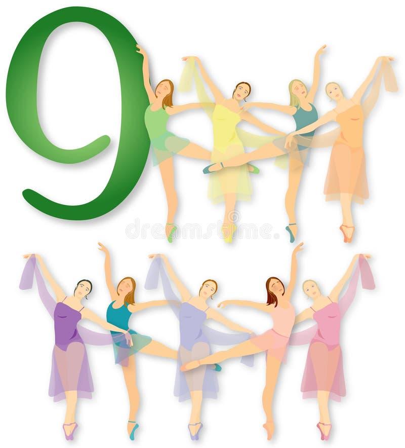 12 días de la Navidad: Baile de 9 señoras ilustración del vector