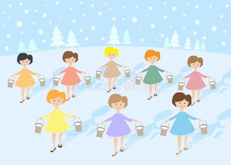 12 días de la Navidad: Ordeño de 8 criadas A ilustración del vector