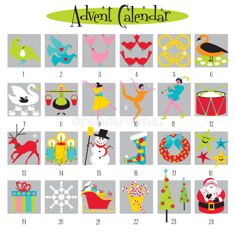 12 dagen van de Kalender van Kerstmis en van de Komst vector illustratie