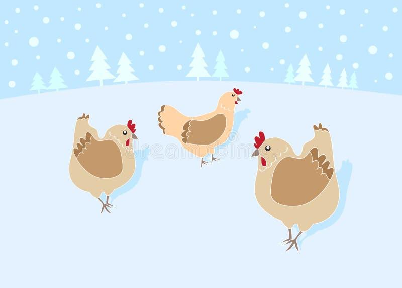 12 dagen van Kerstmis: 3 Franse Kippen vector illustratie