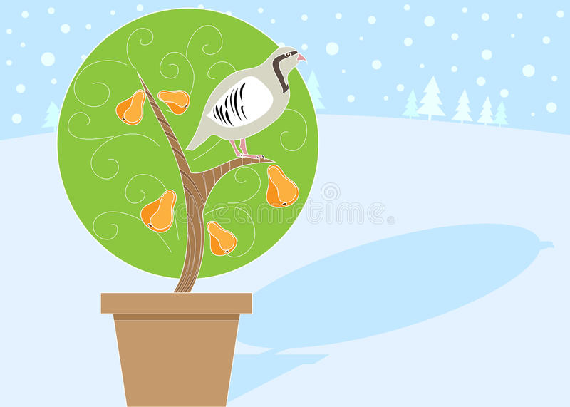 12 Days Of Christmas 1 Partrige In A Pear Tree Stock Vector