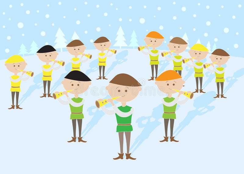 12 Days Of Christmas 11 Pipers Piping Stock Vector