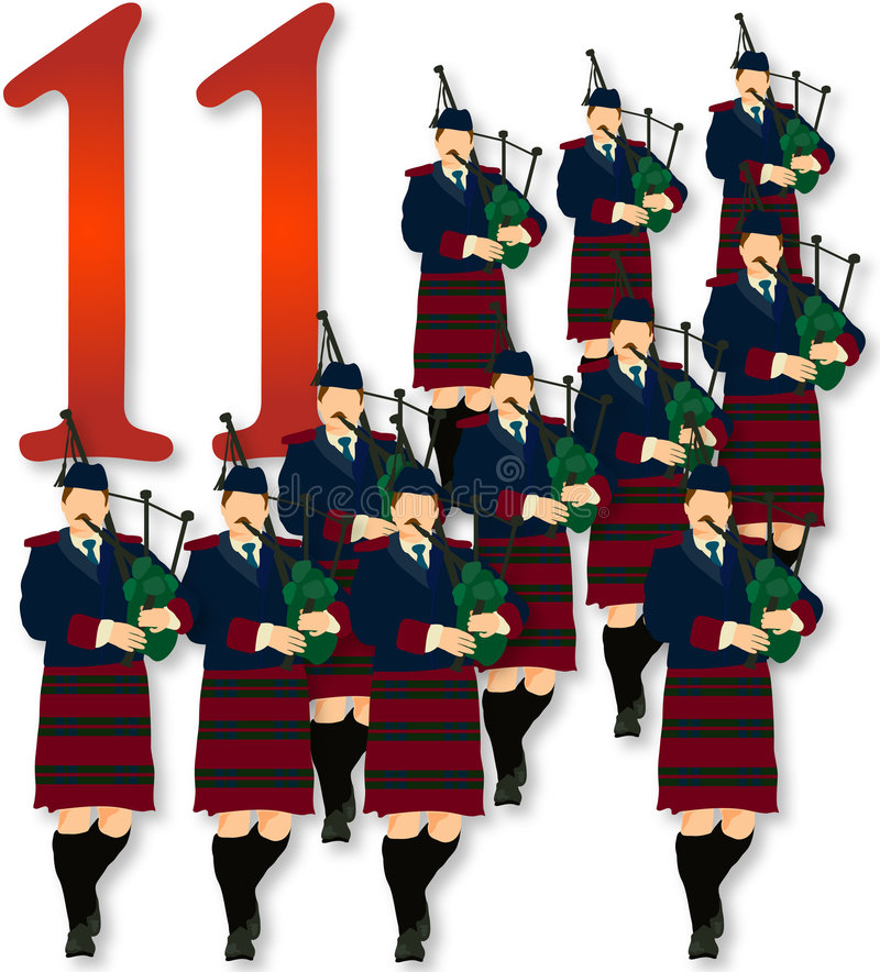 12 Days of Christmas: 11 Pipers Piping vector illustration