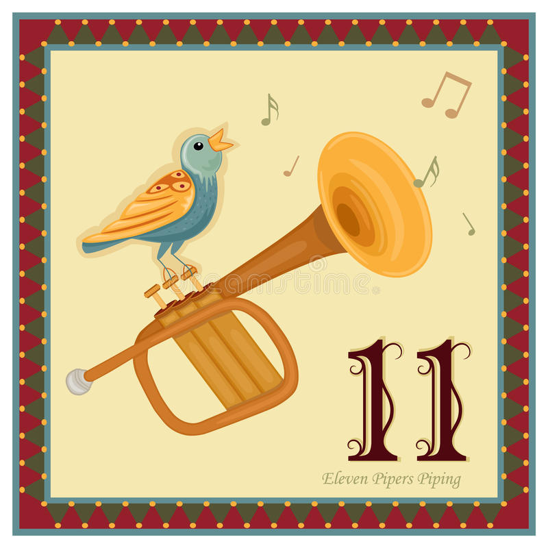 The 12 Days of Christmas. 11-th Day - Eleven Pipers Piping. Vector file - EPS AI 8 is now pending Dreamstime inspection