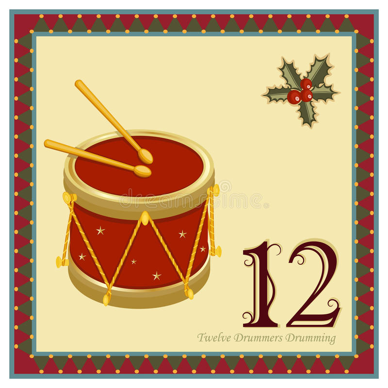 The 12 Days of Christmas. 12-th Day - Twelve Drummers Drumming. Vector file - EPS AI 8 is now pending Dreamstime inspection