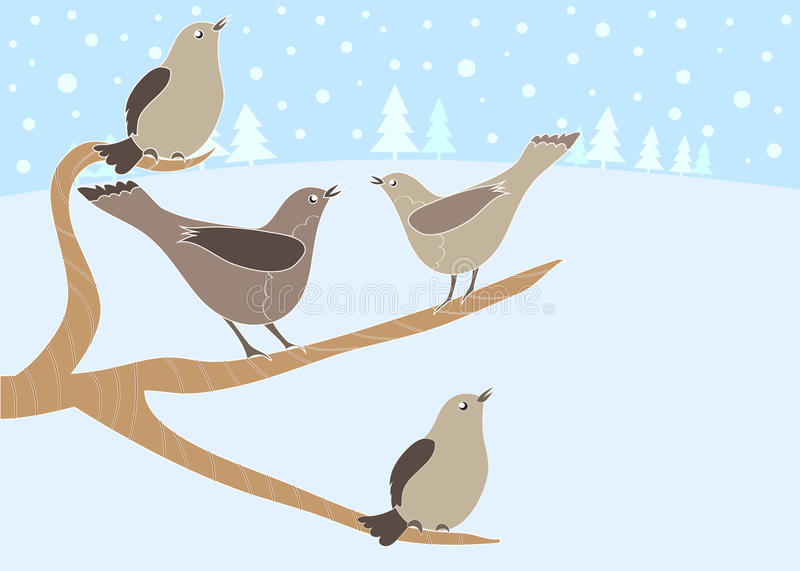 12 Days Of Christmas 4 Calling Birds Stock Vector Illustration Of